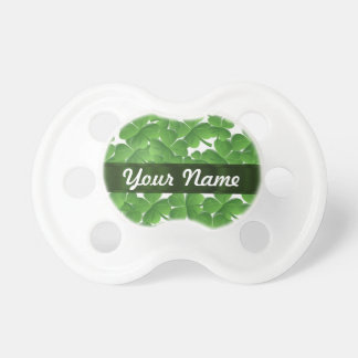 Green Irish shamrocks personalized BooginHead Pacifier