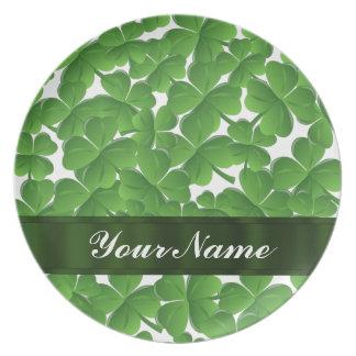 Green Irish shamrocks personalized Plates