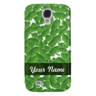 Green Irish shamrocks personalized Samsung Galaxy S4 Cover