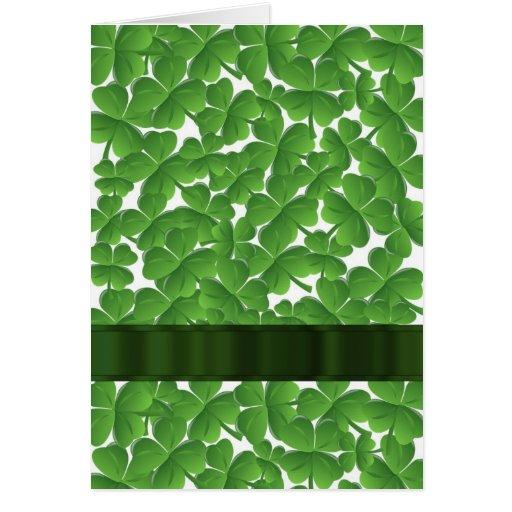 Green Irish shamrocks personalized Stationery Note Card