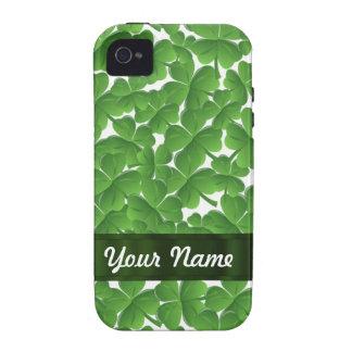 Green Irish shamrocks personalized Vibe iPhone 4 Cases
