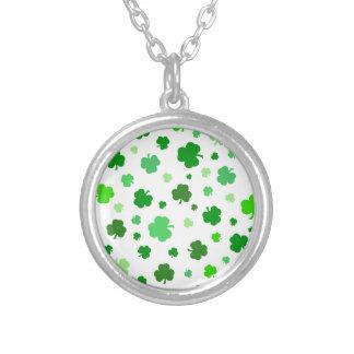 Green Irish Shamrocks Silver Plated Necklace