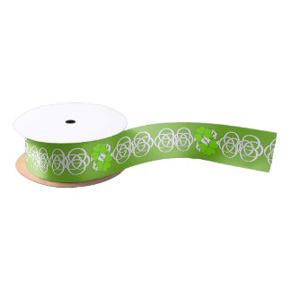 Green Irish Shamrocks White Celtic Knots Satin Ribbon