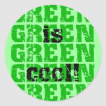 GREEN is cool Round Stickers