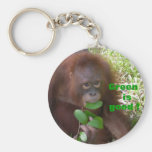 Green is Good Great Ape Fan Basic Round Button Keychain