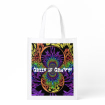 """Green Is Groovy!"" Retro Hippie Reusable Grocery Bag"