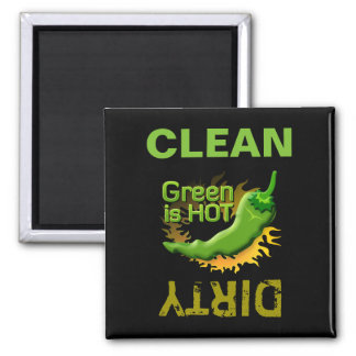 Green is HOT 2 Inch Square Magnet