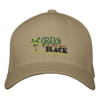Green Is New Black Embroidered Baseball Cap