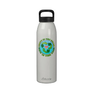 Green is the Color Smiling Planet Liberty Bottle Reusable Water Bottles