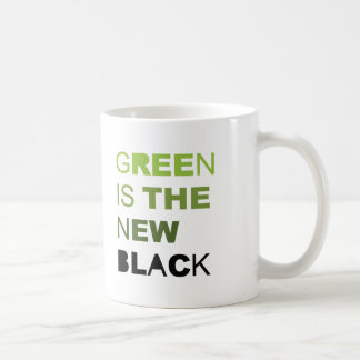 GREEN IS THE NEW BLACK SOLID CLASSIC WHITE COFFEE MUG