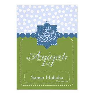 Green Islam Aqiqah Baby polka dot invitation