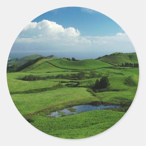 Green island round sticker