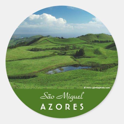 Green island round stickers