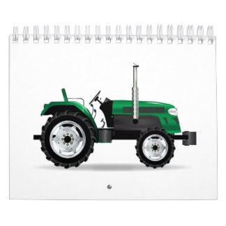 Green Isolated Tractor Calendar