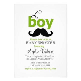 Green It s a Boy Mustache Baby Shower Invitations