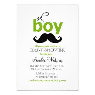Green It's a Boy Mustache Baby Shower Invitations
