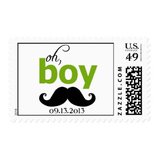 Green It's a Boy Mustache Baby Shower Postage
