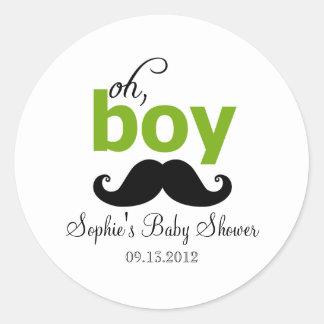Green It's a Boy Mustache Baby Shower Sticker