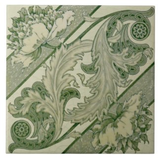 Green Ivory Art Nouveau Peony Antique Repro Tile