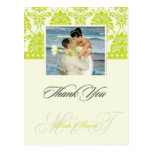 Green +  Ivory Damask Thank You Photo postcards, Postcard