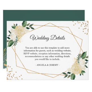 Green Ivory Gold Floral Wedding Reception Details Card