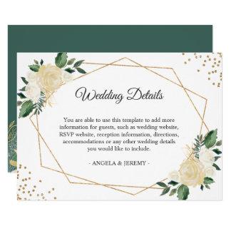 Green Ivory Gold Floral Wedding Reception Details Card