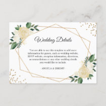 Green Ivory Gold Floral Wedding Reception Details Enclosure Card