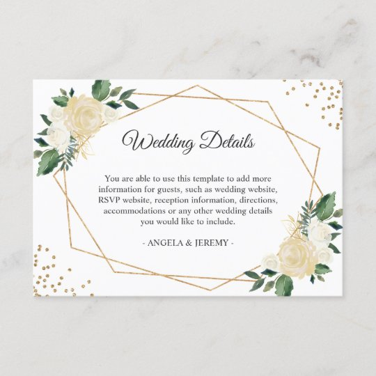 Green Ivory Gold Floral Wedding Reception Details Enclosure Card
