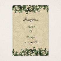 Green ivory Vintage Flourish Wedding Business Card