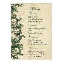 Green ivory Vintage Flourish Wedding Card