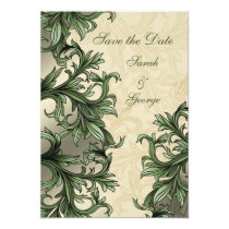 Green ivory Vintage Flourish Wedding Card