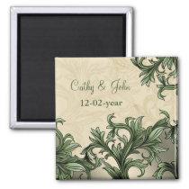 Green ivory Vintage Flourish Wedding Magnet