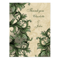 Green ivory Vintage Flourish Wedding Postcard