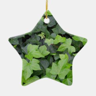Green Ivy Botanical Print Ceramic Ornament