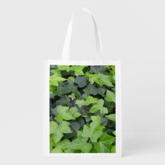 Green Ivy Botanical Print Reusable Grocery Bag