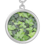 Green Ivy Botanical Print Silver Plated Necklace