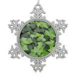 Green Ivy Botanical Print Snowflake Pewter Christmas Ornament