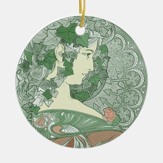 Green Ivy Goddess Ceramic Ornament