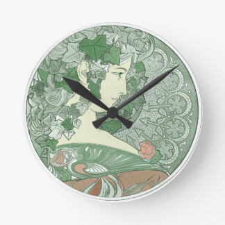 Green Ivy Goddess Round Clock