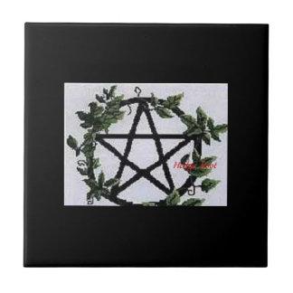 Green Ivy Pentagram Tile. Small Square Tile