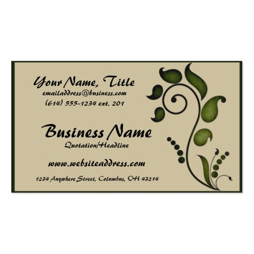 Green Ivy Scroll Decorative D7 - Business Cards (front side)