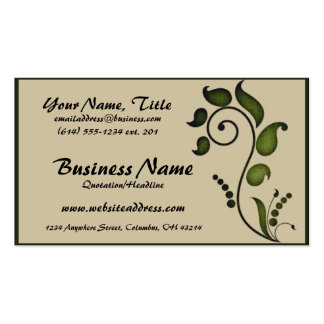 Green Ivy Scroll Decorative D7 - Business Cards