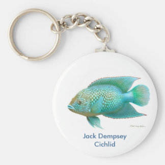 Green Jack Dempsey Cichlid Basic Round Button Keychain