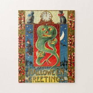 Green Jack O' Lantern Ghost Pumpkin Black Cat Jigsaw Puzzle