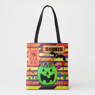 Green Jack o' Lantern Personalized Trick or Treat Tote Bag