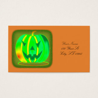 Green Jack o'lantern Halloween Thunder_Cove Business Card