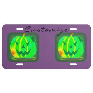 Green Jack o'lantern Halloween Thunder_Cove License Plate