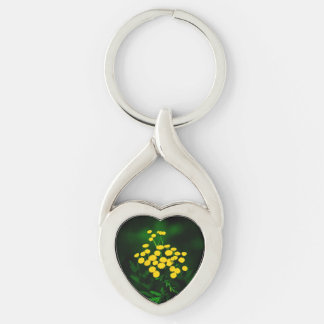 Green Jacket With Golden Buttons Silver-Colored Heart-Shaped Metal Keychain