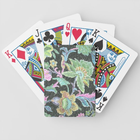 Green Jacobean Pattern Damask Bicycle Playing Cards