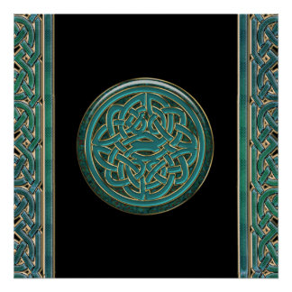 Green Jade and Marble with Gold Celtic Knot Poster